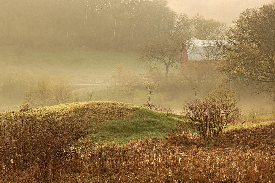 Fog-shrouded barn near Lone Rock, Wisconsin