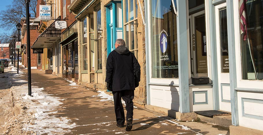 The Harold Thorpe walking down Mineral Point High Street