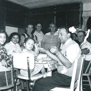 Family portrait at dinner table