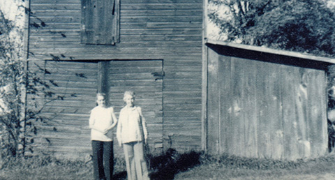 Harold's mother and Aunt Alice outside the stable in Avoca, where they kept their horses while attending school. ©2014 Harold William Thorpe