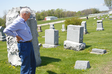 Harold at the Stephens section of the cemetary