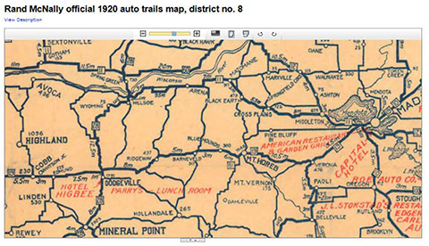 1920 Rand McNally auto trails map showing Wisconsin State Road 19 past Ridgeway