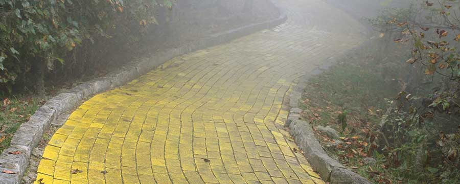 Foggy yellow brick road