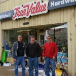 Mike, Bill and Mark Mitchell outside Mitchell True Value Hardware. ©2016 Novelist Harold William Thorpe