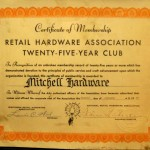 Bob Mitchell's Retail Hardware Association certificate.