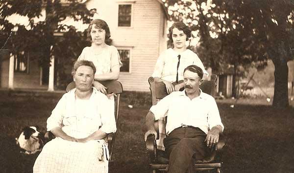 Grandpa Will, Grandma Elizabeth, Alice (Ruby) Laura(Catherine) and Teddy, their heroic dog