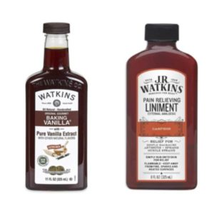 Vanilla and liniment oil bottles next to each other